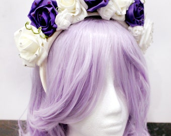 Purple & White Rose Crown Headband with Rhinestones