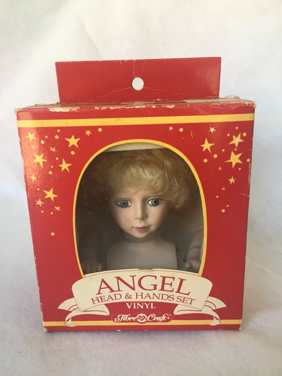 1991 Fibre Craft Vinyl Angel Head /& Hands Set for Soft Body Doll Tree Top NOS