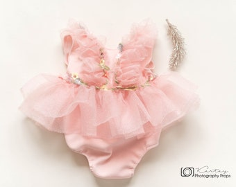 Peachy -soft pink Sitter tutu romper,baby romper,photography props,first birthday outfit,newborn tutu,newborn props,newborn romper,romper