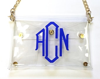 Personalized/Monogrammed Clear Stadium Game Day  Clutch/Cross Body Purse/Bag/Tote.