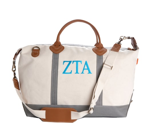 59405245e32 ZTA Zeta Tau Alpha Sorority Monogrammed Weekender Travel Bag.