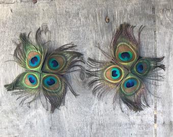100% Crueltyfree peacock feather nipple pasite, nipple jewellery