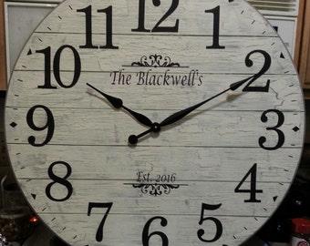 30 inch White/Gray Shabby Chic Shiplap-Look Clock