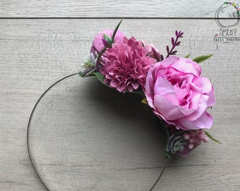 Flower Headband / Flower Photo Prop / Wedding Headband / Floral Crown /Adult Headpiece / One of a Kind / Handmade / Double Sided Headband