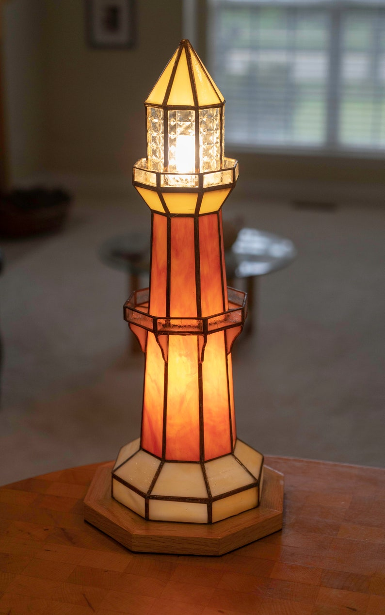 OrangeYellow Lighthouse Stained OrangeYellow Glass Lamp Stained zMVUSpqGL