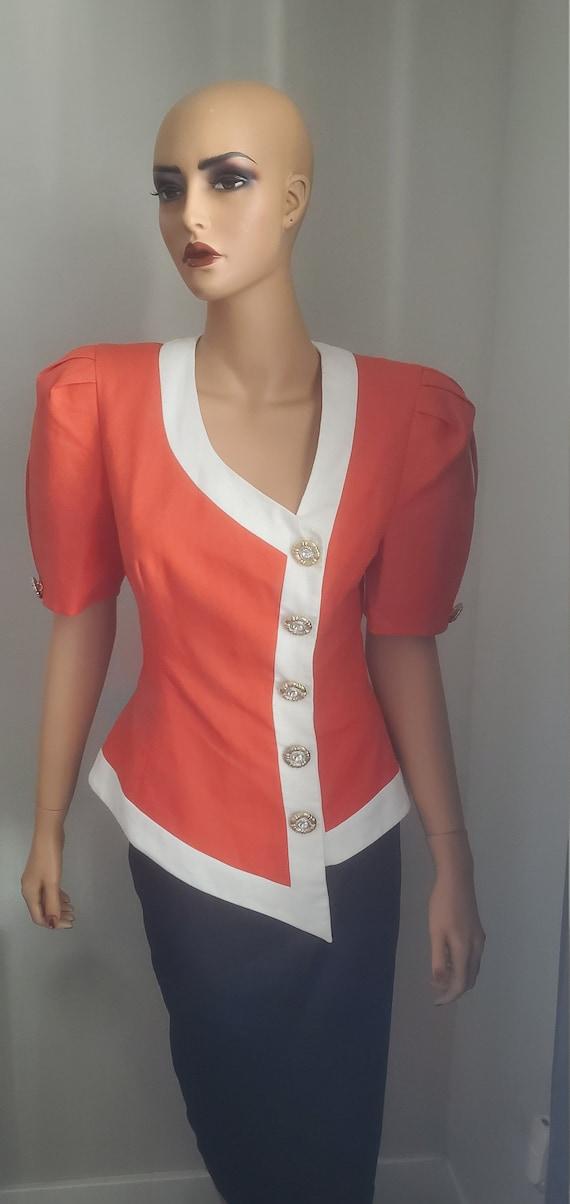 Vintage RICH Orange  DYNASTY Blazer Blouse   80s E