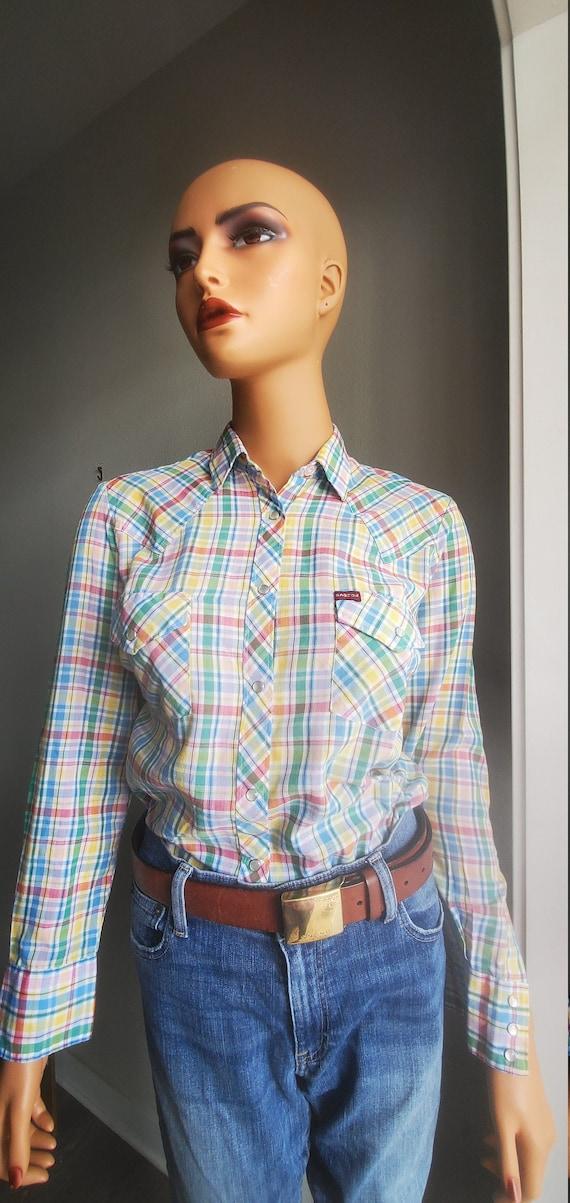 Vintage SASSON Pastel Plaid Western Shirt | Women'