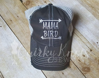 Mama bird-mama bear-mama hat-mom hat-mom gift-embroidered hat-mama sayings-mama phrase-mom sayings-mama bird hat-mom-mama-custom hat
