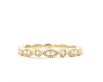 Rose Gold Wedding Ring/Diamond Wedding Band/14K Solid Gold Stacking Band/Natural Diamond Band/Half Eternity Diamond Ring/Simple Diamond Ring