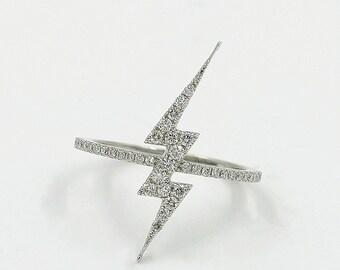 Micro Pavé Diamond in 14K  Solid Rose Gold. Lightning Bolt Diamond Ring.Minimalist Diamond Ring.Statement Ring.Lightning Bolt 0.34CT