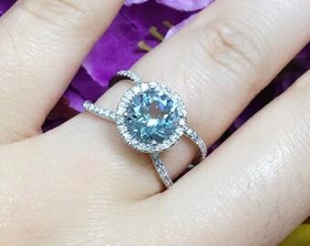 Aquamarine Engagement Ring.Diamond Engagement Ring.Round Aquamarine Halo Ring.March Birthstone Ring.AAA quality Aquamarine Wedding Ring.