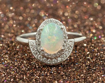 Rainbow White Opal Engagement Ring, 0.28ct High Quality Diamonds.Opal Diamond Engagement.8x6mm Natural Opal.14k White Gold Diamond Ring
