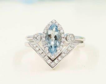 2 PCS Aquamarine Engagement Ring, 0.38 ct High Quality Diamonds, Aquamarine Diamond Engagement, 10x5 Natural Aquamarine Engagement Set.