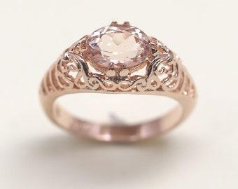 Vintage Style Morganite Engagement Ring.Morganite Ring.14k Rose Gold Engagement Ring.Vintage Engagement Ring.Unique Engagement.Unique Ring.