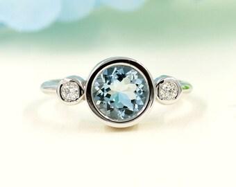 Aquamarine Engagement Ring, 0.10 ct High Quality Diamonds, Aquamarine Diamond Engagement,7mm AAA Round Aquamarine.Diamond Bezel Ring