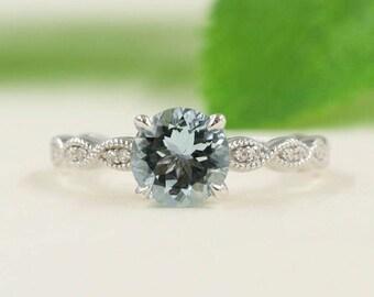 Solitaire Aquamarine Diamond Ring/Aquamarine Engagement Ring/7mm AAA Natural Aquamarine/14k White Gold Diamond Ring/Diamond Engagement Ring