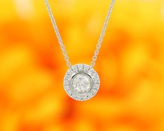 Diamond Solitaire Necklace.14k White Gold necklace.Diamond Bezel Necklace.0.48Ct.Brilliant Round Cut Halo Diamond Necklace.Woman's necklace