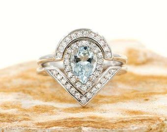 2 PCS Aquamarine Engagement Ring, 0.38 ct High Quality Diamonds, Aquamarine Diamond Engagement,8x6 Pear Natural Aquamarine Engagement Set.