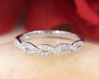 Twisted Diamond Band.Diamond Wedding Band.0.23CT High Quality Diamonds 14k Twist Diamond Band Rose Gold Diamond Ring.Dainty Wedding Band