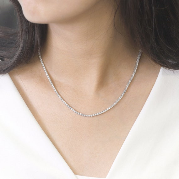 5.30 ct Tennis Diamond Necklace.14k White Gold Necklace.Full  9e6daf022
