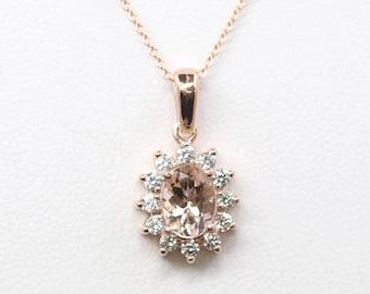 Oval Morganite Diamond Necklace.14k Rose Gold Necklace. 0.36ct High Quality Diamond Necklace.AAA 8x6 mm Natural Morganite Classic Necklace