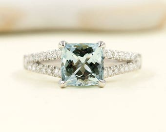 Aquamarine Diamond Engagement Ring.7mm AAA Natural Cushion Aquamarine.0.34ct High Quality Diamond.14k White Gold Aquamarine Engagement Ring