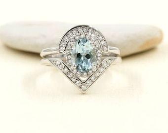 2 PCS Aquamarine Engagement Ring, 0.38 ct High Quality Diamonds, Aquamarine Diamond Engagement,8x6 Oval Natural Aquamarine Engagement Set.