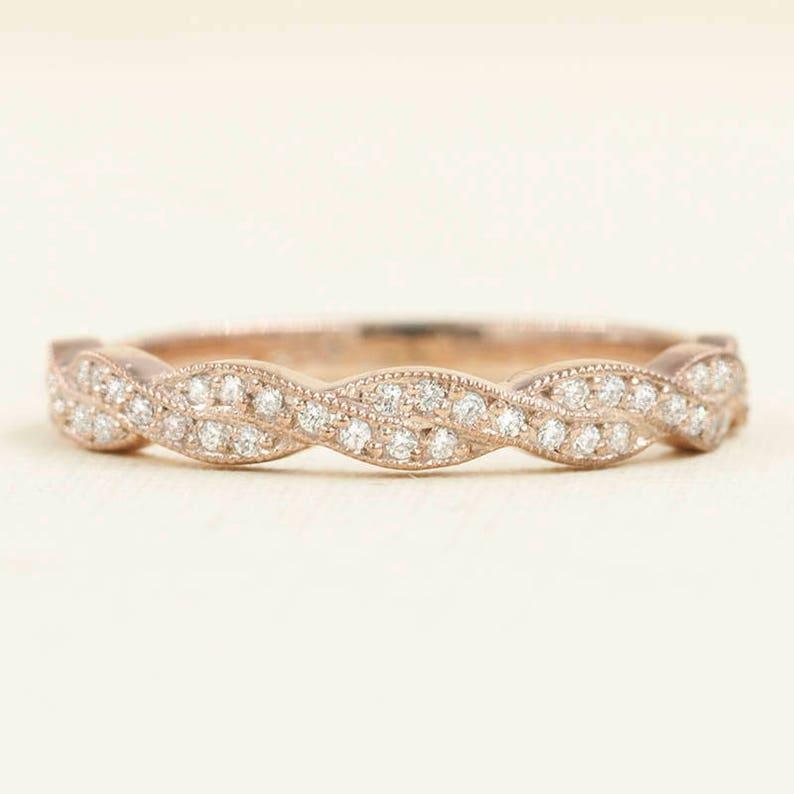 c117bab96c0fa Twist Diamond Wedding Band/Infinity 14K Solid Gold Wedding Ring/Natural  Rope Diamond Band/Micro Pave Ring/Art Deco Diamond Ring/Vine Ring