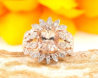 Morganite Marquise Crown Rose Gold  Engagement Ring.2.5Ct Morganite&0.68 High Quality Diamond Ring.Art Deco 14k Rose Gold Engagement Ring.