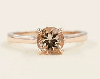 14K Rose Gold Morganite Engagement Ring/7mm Natural Morganite/Solitaire Morganite Engagement Ring/Simple Ring/Minimalist Gold Ring