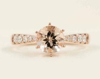 Simple Morganite Engagement Ring/Rose Gold Wedding Ring/Diamond Ring/Natural Morganite Engagement Ring/Morganite Diamond Engagement Ring