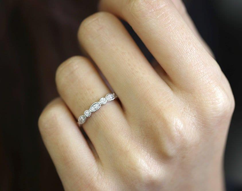 Rose Gold Wedding Ring/Diamond Wedding Band/14K Solid Gold Matching Band/Natural Diamond Band/Half Eternity Diamond Ring/Simple Diamond Ring