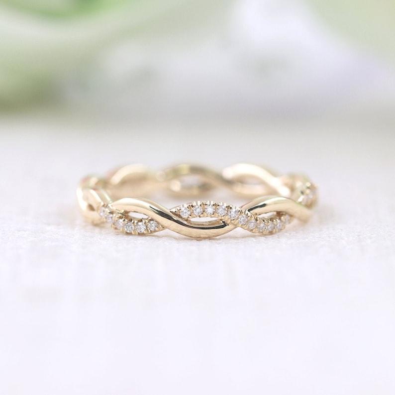 0e9d36b5420c9 Vine Diamond Ring/Twist Wedding Ring/Diamond Wedding Band/14K Solid Gold  Rope Ring/Women's Wedding Ring/Everyday Ring/Graduation Gift