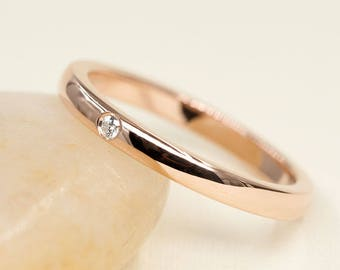 Simple Diamond Band, Women's Band, Diamond Wedding Band, Rose Gold Diamond Band, 14k White Gold Wedding Ring, Diamond Ring, Simple Stackable