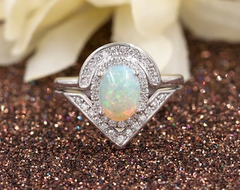 Rainbow Natural White Opal Engagement Ring Set. 0.38ct High Quality Diamonds.Opal Diamond Engagement Ring.14k White Gold Diamond Ring