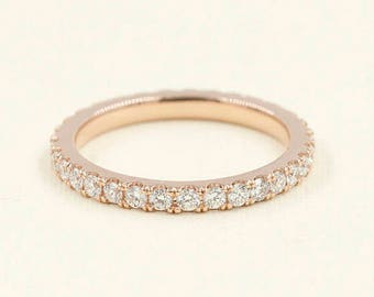 2.2mm Full Eternity Band.Diamond Wedding Band.Rose Gold Wedding Ring. 14k White,Yellow Gold Women's Band. 0.82ct. Diamond Band.Simple Band.