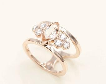 Morganite Engagement Ring.Diamond Engagement Ring.14K Solid Rose Gold Diamond Ring.14K Rose Gold Wedding Ring.0.36ct HIgh Quality Diamond
