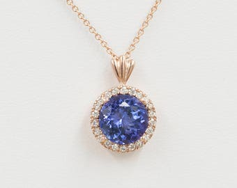 Tanzanite Diamond Necklace.0.18 ct High Quality Diamond & 8mm AAA Natural Tanzanite.Slide Pendant.14k White Gold Necklace.Simple Necklace