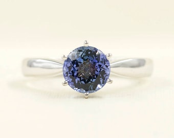 Tanzanite Engagement Ring/Solitaire Wedding Ring/14k White Gold Ring/Solitaire Engagement Ring/Simple Engagement Ring/7mm High Quality Ring