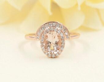 14k Rose Gold Morganite Engagement Ring. 0.28 ct High Quality Diamond Morganite Engagement Ring. 8x6mm Morganite High Quality Diamond Ring