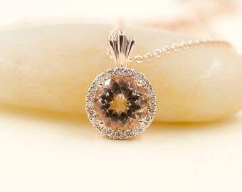 Morganite Diamond Necklace/0.18ct High Quality Diamond & 8mm AAA Natural Morganite/Sliding Pendant/14k Rose Gold Necklace/Simple Necklace