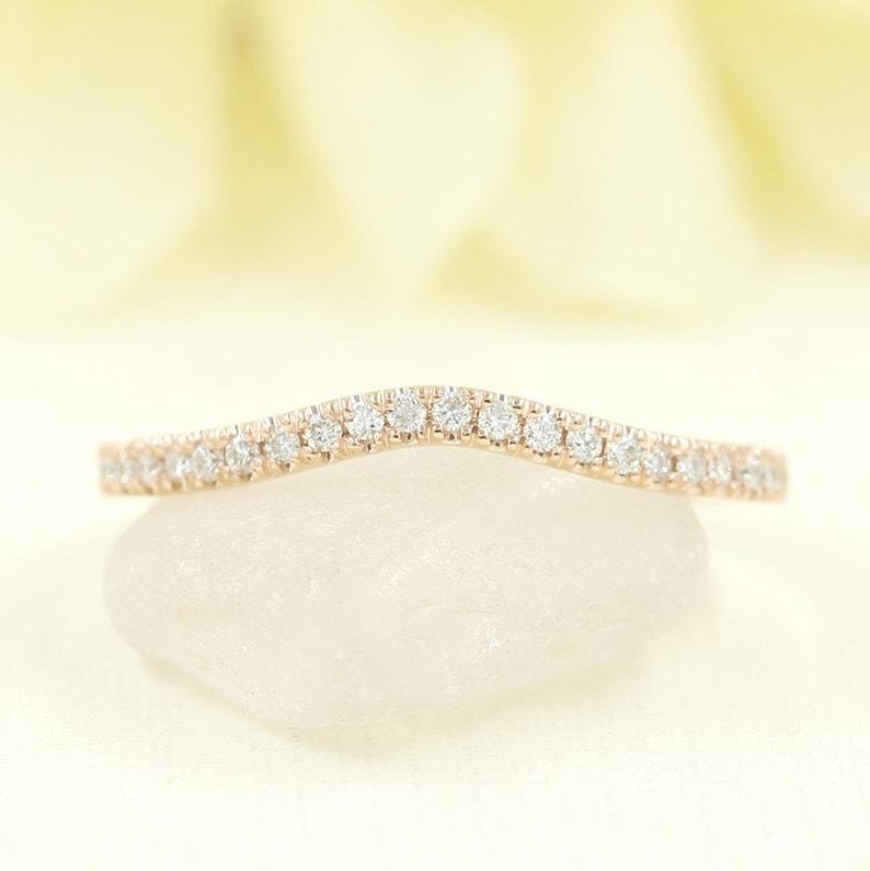 Diamond Wedding Band/Curved Wedding Band/Diamond Matching image 0