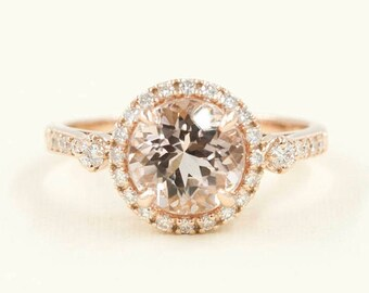 2.5 CT Morganite Engagement Ring.AAA Quality Morganite Diamond Ring.Diamond Engagement Ring.14K Rose Gold Womens Ring.Morganite Wedding Ring