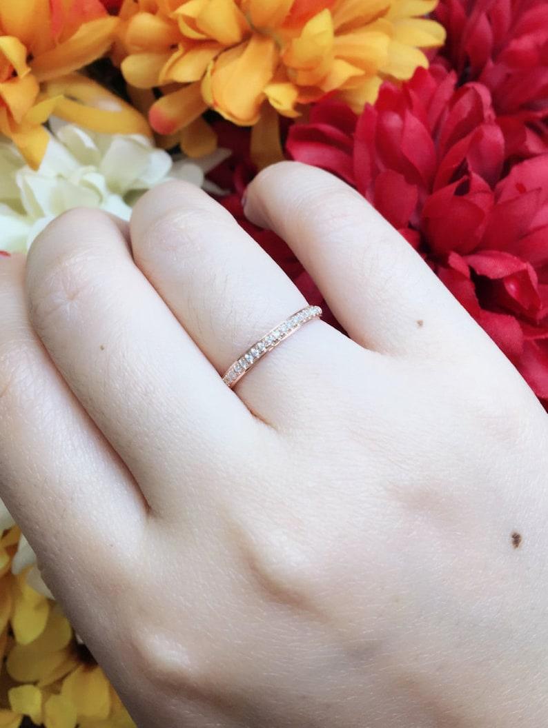 Half Eternity Wedding Band,Diamond Rose gold wedding Band,Simple Diamond Band,14k Diamond Ring.Stacking Ring 0.16 Ct Diamond Wedding ring