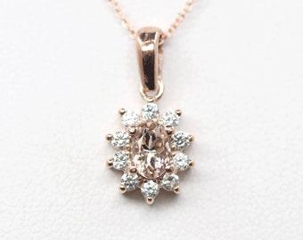 Morganite Diamond Necklace.Solid 14k Rose Gold Necklace.Diamond Necklace.AAA 6x4mm Natural Morganite Pendant. 0.30ct High Quality Diamond.