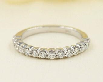 Half Eternity Diamond Wedding Band.14k Rose Gold Prong Setting Band.Eternity Diamond Wedding Ring.Art Deco Diamond Matching Wedding Band
