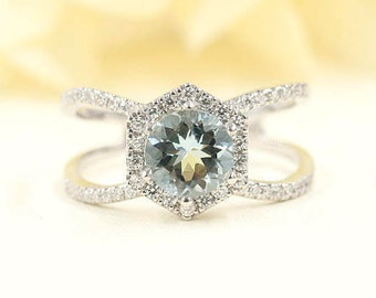 Women's Aquamarine Engagement Ring/14k Solid Gold Hexagon Ring/7mm AAA Aquamarine Engagement Ring/Aquamarine Diamond Wedding Ring