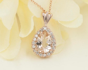 Morganite Diamond Necklace.0.14 ct High Quality Diamond & 8x6 mm AAA Natural Pear Morganite Pendant.14k Rose Gold Necklace.Simple Necklace