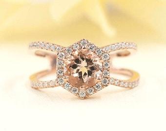 14k Rose Gold Hexagon Ring 0.43Ct.F G - VS Diamond Ring.7mm AAA Morganite Engagement Ring &  Hexagon Morganite Ring.Diamond Engagement Ring.