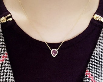 Pear Shaped Sapphire Diamond Necklace/Pink Sapphire Necklace/Diamond Necklace/Diamond Gold Necklace/Sapphire Pendant Necklace/14k YellowGold